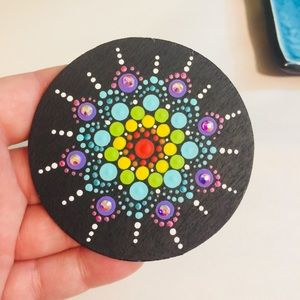 Other - ❌SOLD❌Unique Hand Painted Rainbow Crystal Mandala